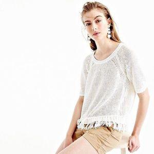 J Crew white linen fringed knit top